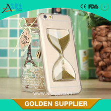 China supplier crystal liquid hourglass pc phone case for iphone 5S