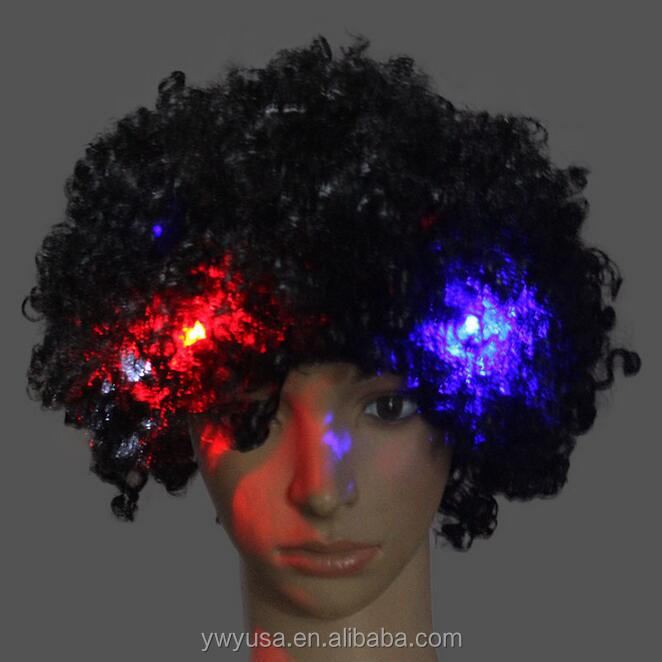 Carnival Wigs Colorful Wigs Clown hair NEW Light Up Flashing LED Rainbow Hot Wig Clown Halloween
