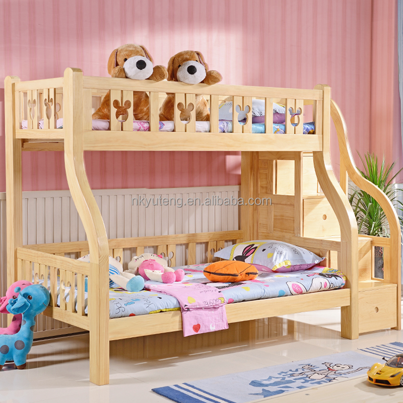 Yuteng furniture full solid wood kids bed 1.2m 1.5m children's bunk bed with storage cabinet
