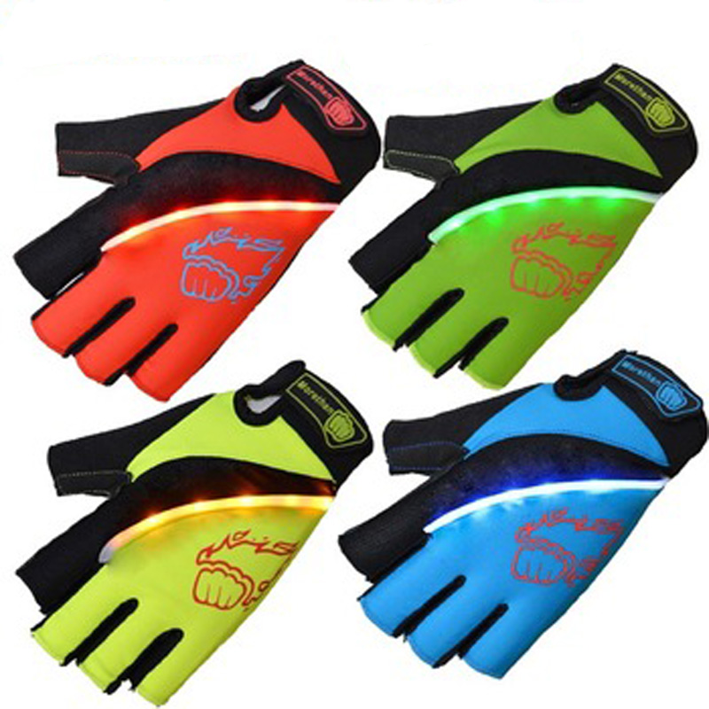 Elastic lycra fabric half finger windsurfing LED Flash light gloves