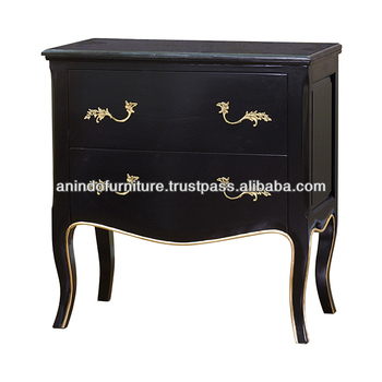 Burlesques Black Painted 2 Drawers Commode