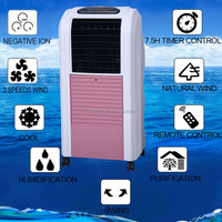 energy-saving LED panel lonizer air purification type green honeycomb celsius small evaporative air cooler water pump
