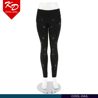 womens fashion pants skinny black pants with diamond decoration
