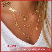 ONLY FOR OpenSky Fashion good luck 8 gold chain Turquoise Necklace Set Layering Necklace with Pendant Multilayer Necklace