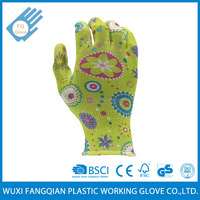 Knitted Breathable Printing Flower Nitrile Garden Work Glove