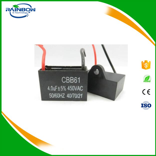 4UF 450V CBB61 AC motor run film capacitor 2+2 Pin for fan