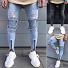 High Street men Ripped denim trousers Holes Hip Hop stretch Zipper motorcycle distressed skinny biker jeans mens