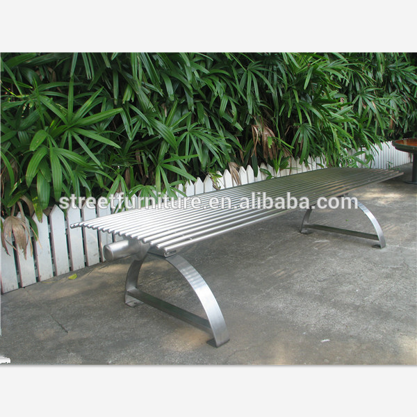 Modern backless metal outdoor stainless steel park benches