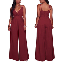 2017 caliente <span class=keywords><strong>pantalones</strong></span> Palazzo alta cintura roja mujeres rompers jumpsuit vestido