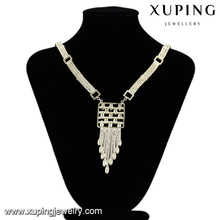 43600 xuping 14k big indian necklace, indian gold plated large italian jewellery