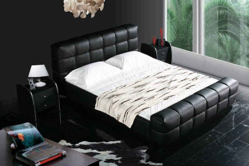 JR617 modern king /queen size black and white full cow leather bed one-stop service from A to Z furnishing company