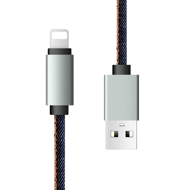 Cabos de Dados 2.1A Carregamento Rápido Carregador USB Cabo Jean Pano 8pin USB cabo para o iphone X/8/7 6 6 Mais 5 s s 5 iPadmini