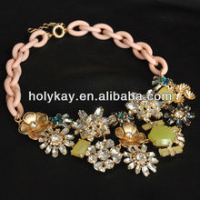 Crystal flower costume jewelry,Bling snow diamond choker necklace,Summer anthemy collar jewelry
