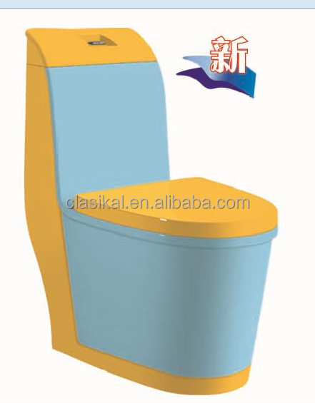 China sanitary ware blue and yellow color ceramic one piece portable toilet