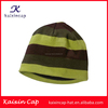 wholesale fashion promotional high quality custom striped flexfit 100% cotton blank knitted beanie hat in winter hat