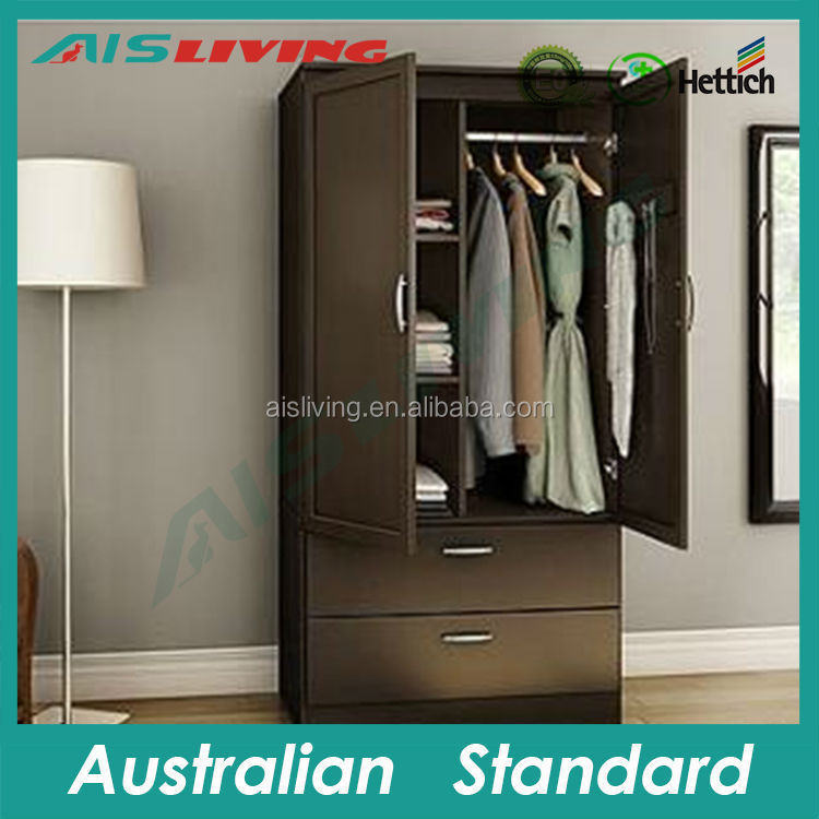 AIS-W058 Pull out door wardrobe storage furniture, 2 door 2 drawer melamine wardrobe