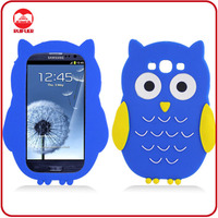 2013 New Product Fancy Owl Design 3D Animal Silicone Phone Case for Galaxy S3 I9300