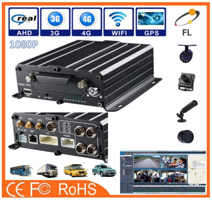 AHD 4channels 1080P 600TVL Small Car Camera support 3G