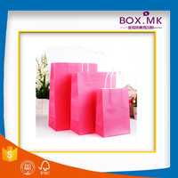 Recycle Stand Up Kraft New Year Gift Candy Bag With Handle