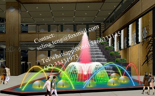 colorful dancing water fountain indoor