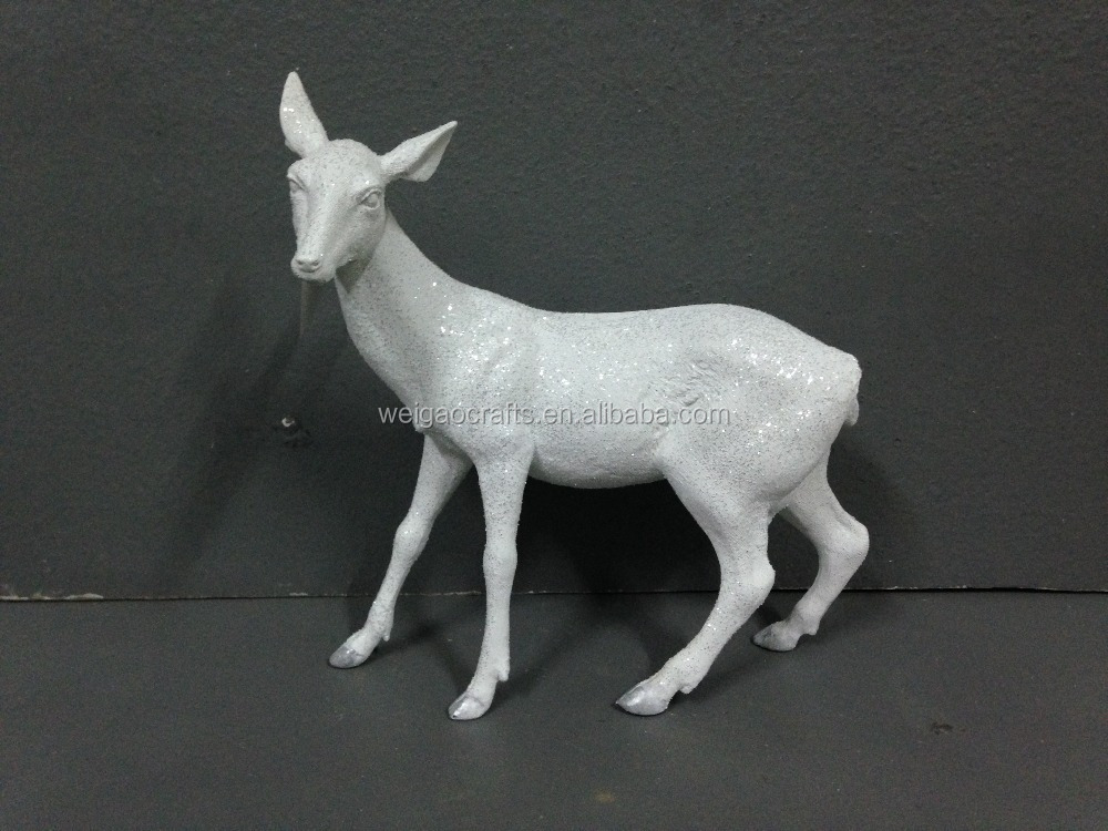 White decorative resin christmas deer statue