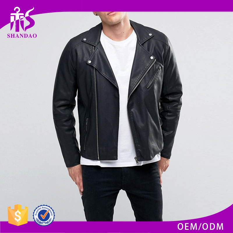 Shandao Latest fashion motorcycle solid color long sleeve wholesale dubai leather jacket