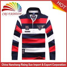 High quality cotton mens long sleeves polo t-shirts custom new design striped mens pk polo shirt wholesale cheap