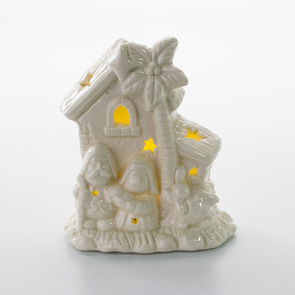 Hot sale porcelain nativity scene with LED light for Christmas