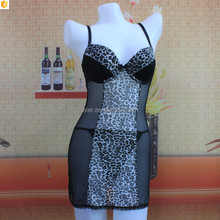 Hot leopard print transparent women nighty dress cheap baby dolls