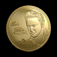 The King of Rock Elvis Presley 1935-1977 gold clad souvenir coin