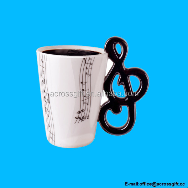 Coffee Milk Ceramic Tea Mug Cup With Guitar Musica