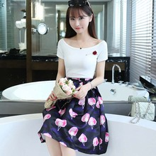 WAT1739 two-piece suit skirt off shoulder Printed Dress for women