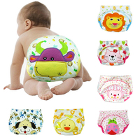 Cute animal embroidered elastic baby diaper pants new born baby soft cotton panty diaper