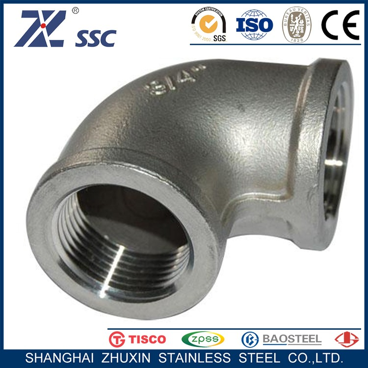 Casting Threaded Pipe Fittings 304 316L Stainless Steel 90 degree Elbow with low price