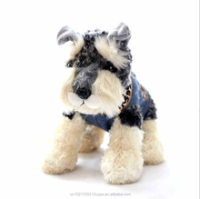 Delicate factory wholesale wear removable denim clothes schnauzer plush toy stuffed dog