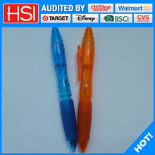 new style design two color plastic ball pen with highlighter