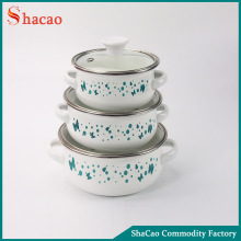 Set Of 6 pcs Blue Butterflies Cookware Enamel Casserole Set With Glass Lid