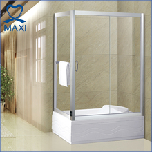 Bathroom enclosure tempered glass frameless sliding shower door