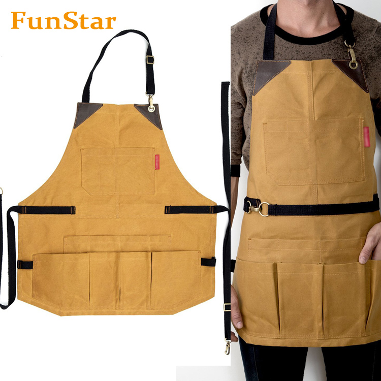 Custom Tool Apron Khaki Cotton Waterproof Waxed Canvas Bib Apron Chef Kitchen Waist Barista Apron