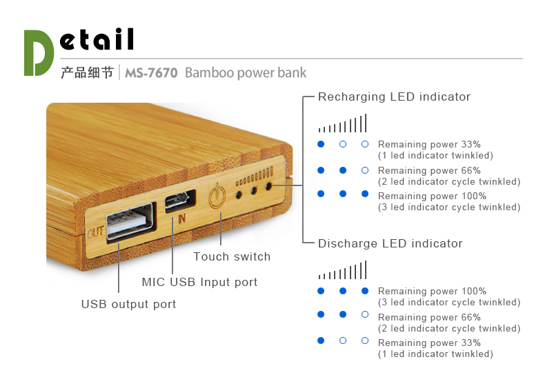 2017 trending product eco wood bamboo manual for mobile portable power bank charger