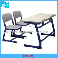 Used school student double desk and chair classroom furniture