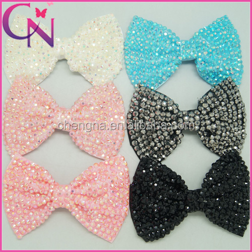 Hot Selling 6 Inch Rhinestone Crystal Hair Bow With Alligator Clip CNHBW-14081413