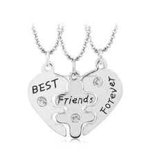 Fashion Friendship heart alloy rhinestone 3pc a set 3 best friends necklace