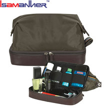 Custom double layer cosmetic bag for men, pro travel shaver mens toiletry bag