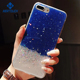 Shiny star harf clear shell for iphone 6 6plus 7 7plus 8 8plus X blue pink liquid glitter mobile phone case