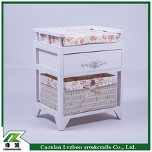 Korea stely wood storage bench / chair with wicker baskets