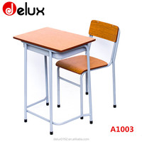 Commercial attached used school desk and chair with writing board A1003