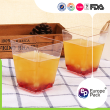 Hot new special fda square ps plastic wine glass with lid
