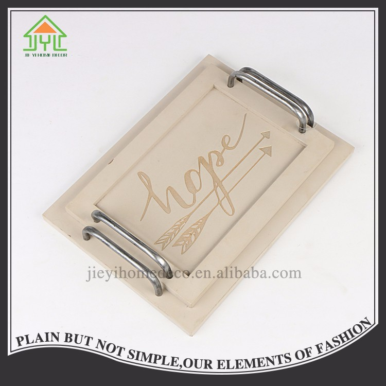 Wholesale antique simple design wood color print word rectangular wood plate