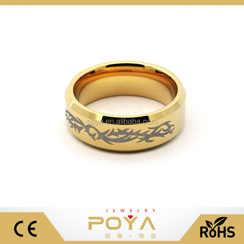 POYA Jewelry New Tungsten Steel Laser Ring 2016, Chinese Wind Tungsten Carbide Ring, Classical Moire Gold Ring